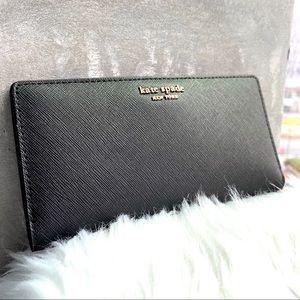Kate Spade Black Large Slim Bifold Wallet